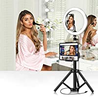 UHAPEER LED Ring Light 10-Inch Ring Light Set, Tri-Color 3300-6000k, With Mobile Phone Holder, for YouTube Videos Photography, Make up, Portrait, Vlog, Selfie (50CM Holder)
