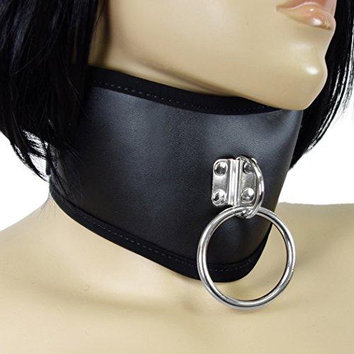 Edles Halsband mit O-Ring, breites u. geschwungenes Hals-Korsett, Halsmanschette, Sexspielzeug Sklavenhalsband in Lederoptik, schwarz - SEE-X Rollenspiel Erotik-Toy Mod-Nr 10051 -