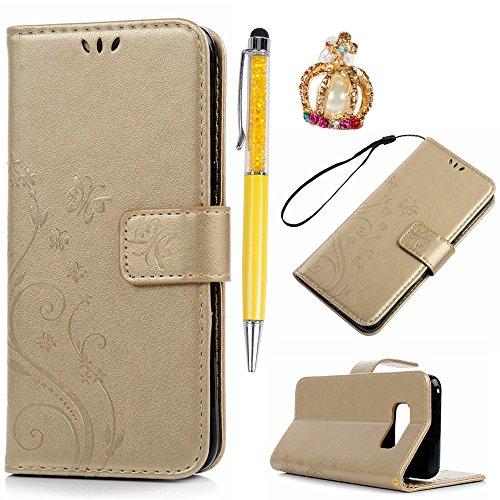YOKIRIN Flip Hülle für Samsung Galaxy S8 Wallet Case Schmetterling Flipcase PU Leder Ständer Bookstyle Handycover Schutzhülle Tasche Ständer Magnetverschluß Karteneinschub Gold