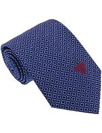 Versace Blue Woven Chain Grid Tie