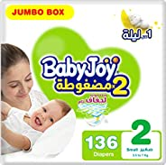BabyJoy Compressed Diamond Pad, Size 2, Small, 3.5-7 kg, Jumbo Box, 136 Diapers
