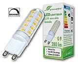 greenandco® LED Lampe dimmbar, ersetzt G9 25-35 Watt Halogenlampe, 3,5W 280 Lumen 3000K warmweiß 270° 230V AC, 2 Jahre Garantie