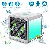Sencillo Air Cooler, Mini Schreibtisch Fan Luftreiniger Luftbefeuchter 3in 1Drei Fan Geschwindigkeiten Vierfußgehstütze Kühlfläche Tragbare Klimaanlage für Büro und Schlafzimmer