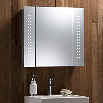 Mirror cabinet 60 led light illuminated mirror bathroom for Bathroom cabinets led