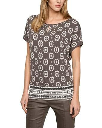Comma Damen T-Shirt 81.404.32.2749, Gr. 44, Mehrfarbig (grey/black AOP)