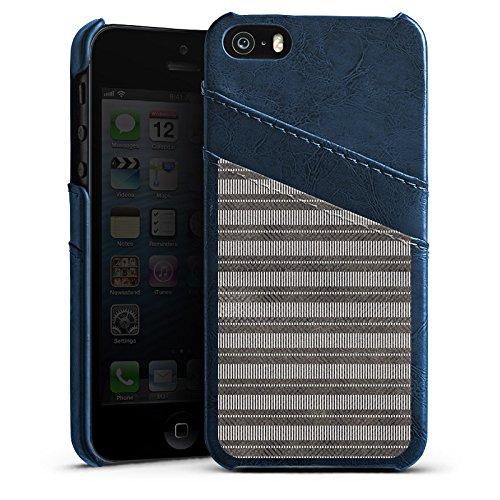 Apple iPhone 5 Housse Outdoor Étui militaire Coque Noir et blanc Bandes Motif Étui en cuir bleu marine
