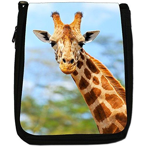 African giraffa Medium Nero Borsa In Tela, taglia M Giraffe In The Wild