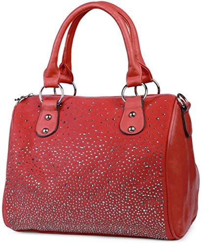 styleBREAKER Bowling Bag Handtasche mit Nieten Strass Applikation im Sternenhimmel Design, Damen 02012021, Farbe:Rot (Bowling Kleine Tasche Leder)