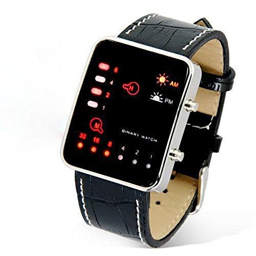 ALIKEEY Damen Digital Quarzwerk Digital rote binäre PU Uhr mit Metall Armband