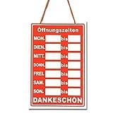 Öffnungszeiten Hängen Schild Restaurant / Geschäft Geschäftszeiten Plastik (German Business Hours Hanging Red Sign)