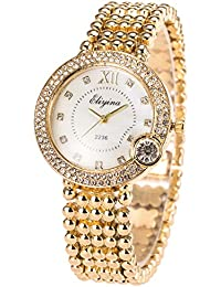 SIBOSUN Lady Women Wrist Watch Quartz Gold Stainless Steel Band Crystal White Dial Dress Fashion Bracelet