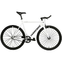 "FabricBike- Bicicleta Fixed, Fixie, Single Speed, Cuadro y Horquilla Aluminio, Ruedas 28"", 4 Colores, 3 Tallas, 9.45 kg aprox. (Light Pearl White, S-50cm)"