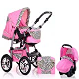 "15 teiliges Qualitäts-Kinderwagenset 3 in 1 ""FLASH"": Kinderwagen + Buggy + Autokindersitz – all inklusive Paket in Farbe PINK-LEO"