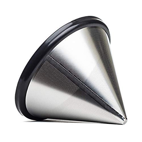 BSET BUY Edelstahl Wiederverwendbare Kaffee Filter mit Tassenhalterung Dripper zum Aufbrühen(9.5cm)