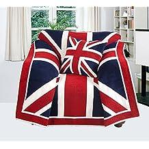 EHC Silla con reposabrazos de bandera de Reino Unido manta para sofá o - 125 x 150 cm aprox.