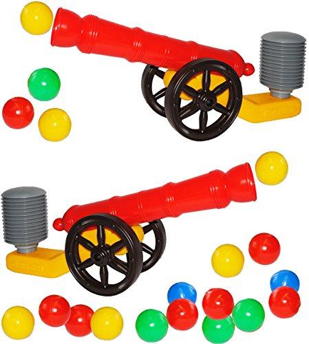 alles-meine.de GmbH Set _ 2 Stück - XL Ballkanone / Kanone - incl. 10 Bälle & Hammer - wasserfest - für INNEN & AUßEN - z.B. für Bällepool / Ball / Bällebad - Bad - Spielzeugbäll..