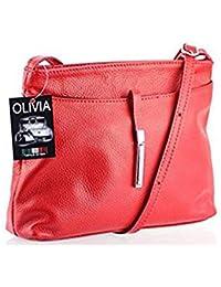 Olivia - Sac bandoulière femme Cuir rouge BARI N1373 Sac en cuir véritable / Pas cher