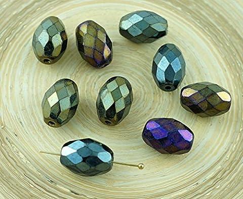 8pcs Grand Brun Métallique arc-en-ciel de l'Iris tchèque en Verre à Facettes Ovale d'Olive Perles de Feu Poli Tube 13mm x 10mm