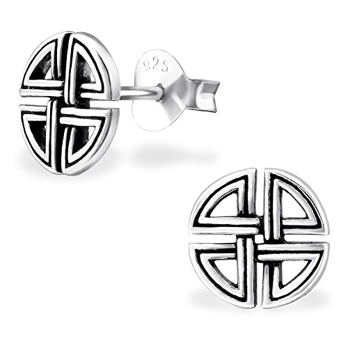 Silvinity Herren Ohrstecker Keltisch runde flache 925 Silber Ohrringe Männer Stecker Schildknoten antik SV-227 (Echt Guter Mann)