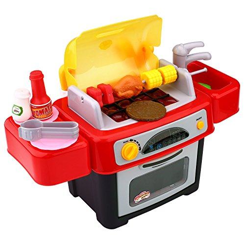 Peradix Küchenspielzeug Kindergrill Barbeque 24 pcs BBQ Grill Kinder Zubehör mit Sound und Licht Groß für Kinder ab 3 Jahre