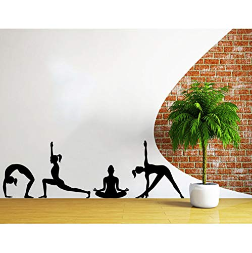 haoxinbaihuo Vinyl Aufkleber Home Decor Art Wandbild Yoga Posen Silhouetten Dinkel Position Yoga Studio Fitness Aufkleber Schlafzimmer Vinyl 40 * 120 cm (Home-yoga-studio)