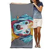 DIMANNU Badetuch Hund Malerei Gemusterte Weiche Strandtuch 78,7x 129,5cm Handtuch mit Einzigartiges Design