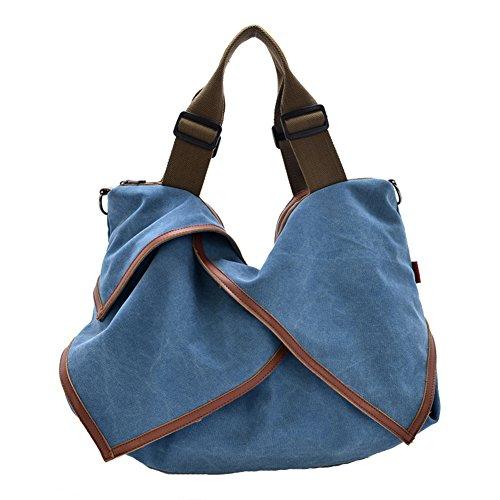 GSPStyle Damen Canvas Schultertasche Tragbar Umhängetaschen Spezielle Design Handtasche Blau