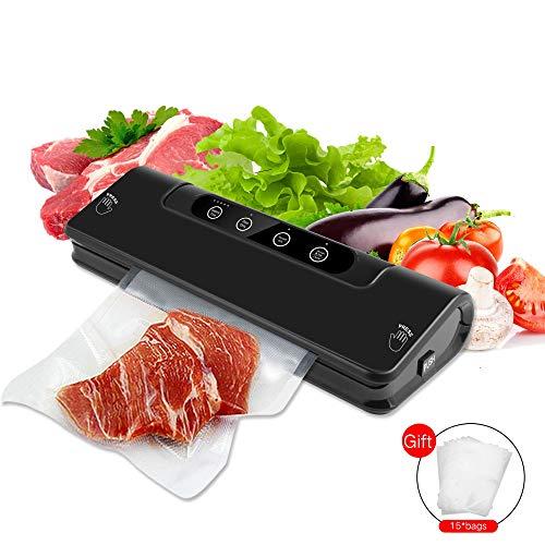M&fang food vacuum sealer machine one-touch automatic vacuum sealer per la cucina di casa di cottura (carne, uova, verdure, frutta) con 15pcs seal bags