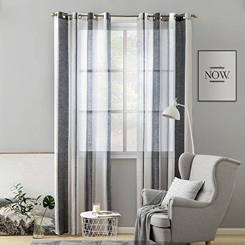 Miulee lino voile tenda finestra con occhielli tenda a pannello tende a vela trasparente per soggiorno e camera da letto 140x260cm 2 pezzo set