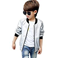 BellaPunk Kids Boys Bomber Jacket Gold Pu Leather Zipper Up Jackets Outwear (7-8 Years, Silver)