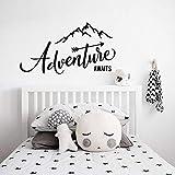 WSYYW L'aventure commence à voyager peinture montagne voyage aventure vinyle chambre chambre sticker mural autocollant famille jardin noir 77x42cm