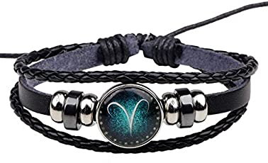 Yellow Chimes Zodiac Sign Constellation Handmade Black Leather Bracelet for Men and Women/Unisex