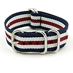 StrapsCo 16mm Navy Blue / White / Burgundy Polished 5-Ring G10 Ballistic Nylon Nato Zulu Watch Strap