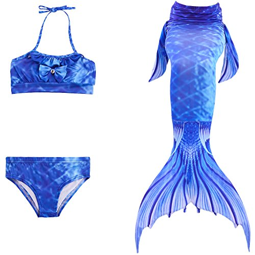 Starjerny 3PS Mädchen Meerjungfrauen Bikini Set Schwimmanzug Badeanzüge Bademode Prinzessin Kostüm Meerjungfrauenschwanz für Schwimmen Kinder 5-14 Jahre Farbewahl (130cm (9-10 Jahre), Top-Style-3)