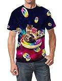 Goodstoworld 3D T Shirt Katze Druck Herren Damen Printed Sommer Lustig Hippie Beiläufige Kurzarm T-Shirts Tshirt L