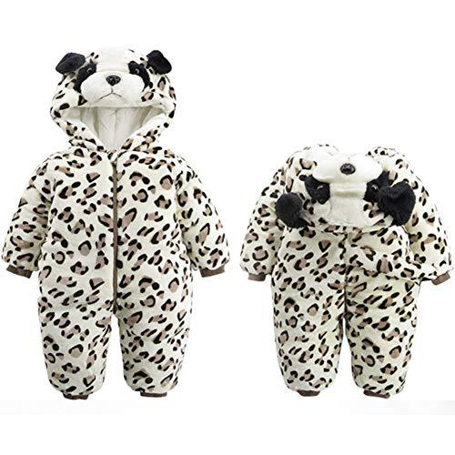 Unisex Baby Winter-Overall mit Kapuze, Bär, weiches Fleece, Einteiler, Schneeanzug Outfits Urlaubszubehör Weihnachten Kostüm, zebra, 80cm(9-12M)