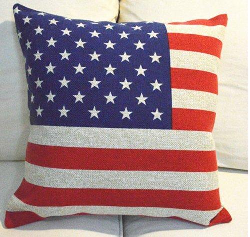 hidoon® Love Home-LH015Elegant Baumwolle Leinen dekorativer Überwurf-Kissenbezug/Überwurf Kissenbezug AMERICAN flagge Design für Sofa Stuhl Bett-18x 45,7cm + Kissen Einsatz -