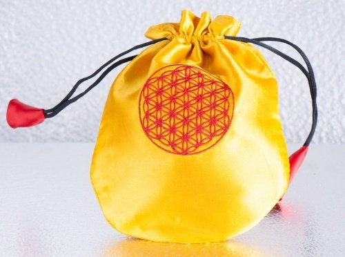Satin Beutel Lebensblume, gelb (Satin-beutel)
