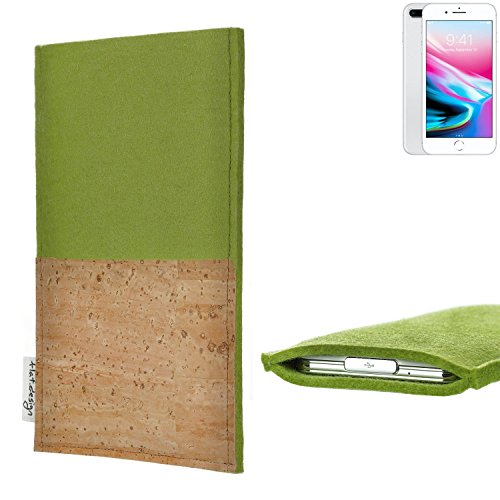 flat.design Smartphonehülle ÉVORA für Apple iPhone 8 Plus - maßgefertigte Schutztasche aus 100% Wollfilz (hellgrau) und echtem Kork - Pouch Handy Filzhülle im Slim fit Design für Apple iPhone 8 Plus pistazie