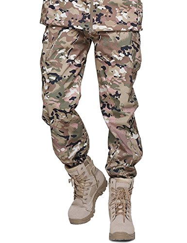 YFNT Herren Softshell Fleece gefütterte Hose Taktische militärische Camouflage Hose -
