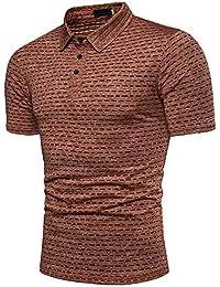 FIRSS Herren Kurzarmshirt,Streifen Pullover Basic T-Shirt Revers Business  Sweatshirt Stoff Kurzarm Sommer Oversize Shirt Tops… 7c2b16ebb0