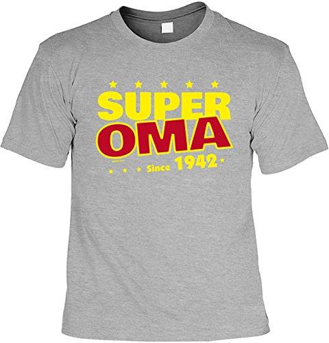 T-Shirt Super Oma since 1942 T-Shirt zum 75. Geburtstag Geschenk zum 75 Geburtstag 75 Jahre Geburtstagsgeschenk 75-jähriger Dunkelgrau