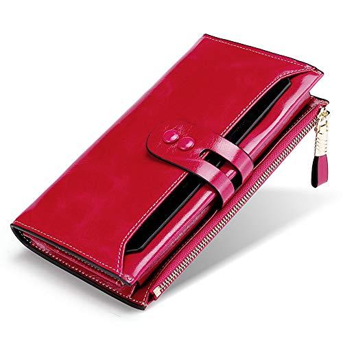 BaiGe Damen Geldbörse mit RFID-blockierender Geldbörse mit großer Kapazität, echtes Leder, Geldbörse mit Reißverschlusstasche Rot rosarot M - Gucci Card Wallet