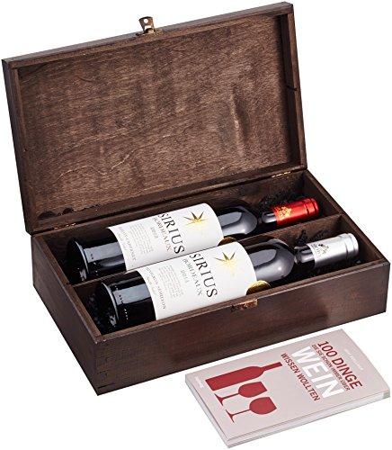 DKDS Collection Geschenkset-Bordeaux exclusive, mit Sirius Rotwein, Sirius Weißwein und Wein-Buch in edler Weinkiste (2 x 0.75 l)