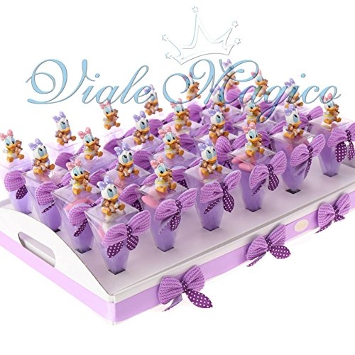 Bomboniere nascita battesimo primo compleanno bimba paperina disney vassoio 24 coni