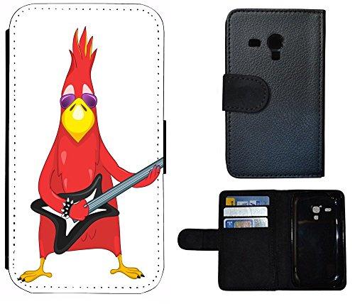 Kuna2 Flip Cover Schutz Hülle Handy Tasche Etui Case für (Samsung Galaxy S3 Mini i8190 i8200, 1009 Vogel Bird rot mit Gitarre Cool Rock Angry)