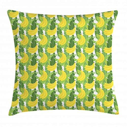 tyui7 Bananenblatt Wurfkissen Kissenbezug, große hängende Gruppe von Reifen Bananen Cartoon illustrierte Design, Dekor quadratischen Akzent Kissenbezug, 45 x 45 cm, Farn grün und gelb -