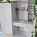 Incollare decorazione camera da letto mattone modello carta da parati impermeabile grigio argento mattone