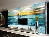 Yosot Personalizzato Foto 3D Carta Da Parati Soggiorno Murale Adesivo Surf Mare Tramonto Paesaggio Marino 3D Pittura Divano Tv Sfondo Muro Non Tessuto Murale-400Cmx280Cm