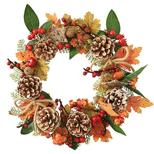 Leiyini 35CM Halloween Kürbis Beere Weihnachten Thanksgiving Pine Garland dekoriert Türen Windows Cone dekorative Kranz Herbst Herbst Maple Leaves Natural Artificial Decor (Weihnachten Kränze Für Windows)